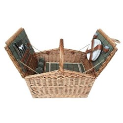 Green Tweed Picnic hamper - 4 person, 48 x 33 x 28cm, light willow
