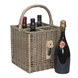 4 bottle basket with opener, 25 x 25 x 25cm, antique wash
