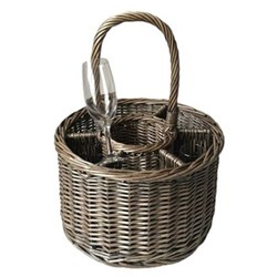 Special event basket (includes 6 glasses), 20 x 32cm, 43cm with handle, antique wash