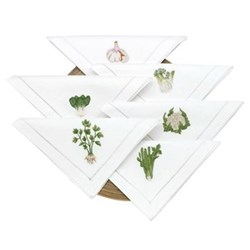Vegetable Set of 6 embroidered napkins, L40 x W40cm, white