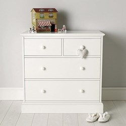 Classic Chest of 4 drawers, 89 x 90 x 50cm, white