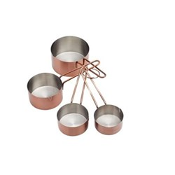 Set of 4 measuring cups, stainless steel, copper finish