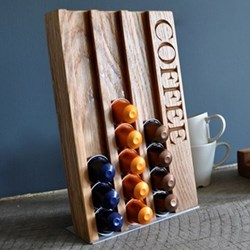 Coffee Coffee pod rack, 27 x 18 x 3.5cm, oak