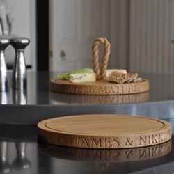 Personalised thin round board, 38 x 3.5cm, oak