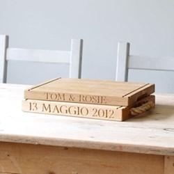 Personalised thin rectangular board with groove handles, 40 x 30 x 3.5cm, oak