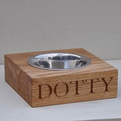 Personalised single dog bowl, L21 x W18 x D7cm, oak and stainless steel