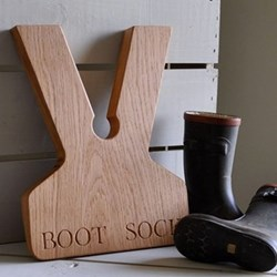 Personalised boot jack, 31 x 24 x 3.5cm, oak