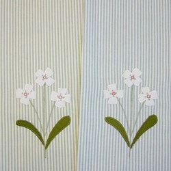 Flower A pair of tea towels, 70 x 45cm, green and duck egg stripe