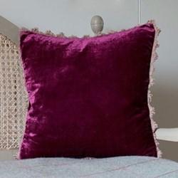 Velvet cushion, 45 x 45cm, aubergine