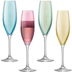 Polka Set of 4 champagne flutes, assorted pastel