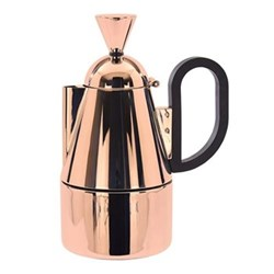 Brew Stove top coffee maker, W9.4 x H19.7cm, stainless steel with copper finish