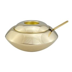 Form Sugar dish and spoon, H6 x W11 x D11cm, brass