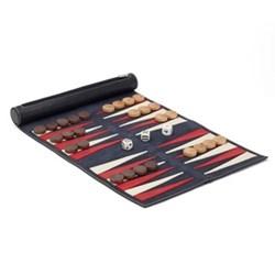 Lazy Days Travel backgammon, 28 x 40cm, indigo leather