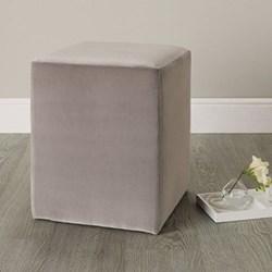 Langley Velvet stool, H47 x W37 x D37cm, silver grey
