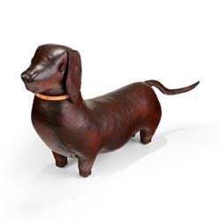 Dachshund Animal footstool, L620 x W200 x H480mm, cowhide leather