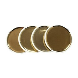 Dauville Set of 4 coasters, 10cm, white with gold glaze