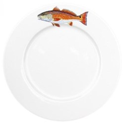 Red Drum Flat rimmed plate, 26cm