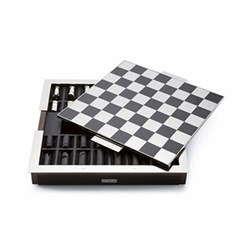 Sutton Chess set, 40 x 40 x 5.7cm, black leather and walnut