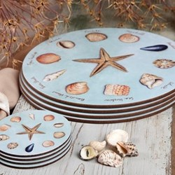 Sea Shells Set of 4 round table mats, 25.5cm