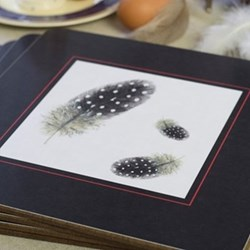 Guinea Fowl Set of 4 square table mats, 24 x 24cm