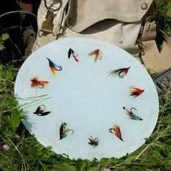 Fishing Fly Glass platter, 30cm