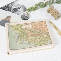 Small photo album with personalised map cover, 16 x 22 x 3cm
