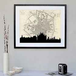 Milan Framed silhouette image with personalised map, 43 x 48cm, black frame