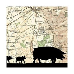 Pigs Unframed silhouette image with personalised map, 35 x 30cm