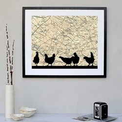 Chickens Framed silhouette image with personalised map, 43 x 48cm, black frame