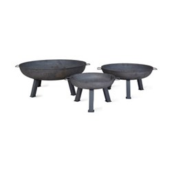 Foscot Medium fire pit, H37 x W75 x D75cm, raw steel