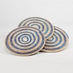 Coaster, 10cm, natural/blue