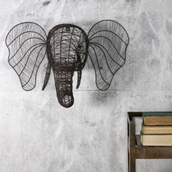 Eko Wire elephant head, 44 x 66 x 32cm, rust