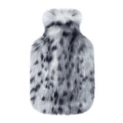 Hot water bottle, 23 x 36cm, faux fur - arctic leopard