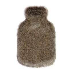 Hot water bottle, 23 x 36cm, faux fur - truffle