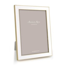 "Enamel Range Photograph frame, 8 X 10"" with 15mm border, white with gold plate"