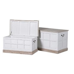 Marriot Pair of trunks, 50.5 x 79 x 45.5/38.5 x 76 x 38cm, white wash finish