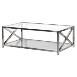 Pechina Coffee table, 45 x 70 x 130cm, polished steel and glass