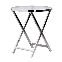 Pechina End table, 45 x 70 x 130cm, polished steel and glass