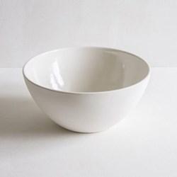Plain Mixing bowl, 20cm, half glazed porcelain