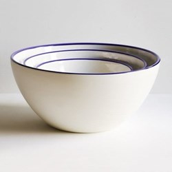 Cobalt Blue Rim Set of 3 serving bowl, half glazed porcelain
