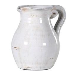 Jug, 25cm, distressed white ceramic