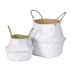 A pair of baskets, 23 x 27 / 36 x 38cm, white grass