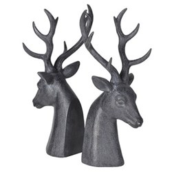 Pair of deerhead bookends, 37 x 18 x 14cm