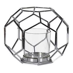 Hexagonal Glass lantern, H22 x Dia27cm, silver
