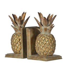 Pineapple bookends, 26cm, gold