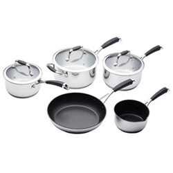 Five piece deluxe cookware set, non-stick stainless steel