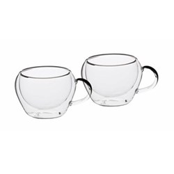 Le'Xpress Pair of espresso cups, 80ml, double-walled glass