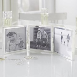 "Triple Aperture Hinged photograph frame, 3 x 3"", fine silver"