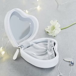 Heart Travel case, 5.5 x 11 x 11cm, white leather