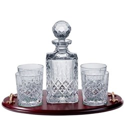 London Whisky tray, decanter and set of 4 tumblers